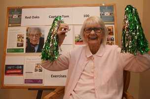 100 Year Old Resident at Red Oaks Takes Part in Captain Tom 100 Challenge
