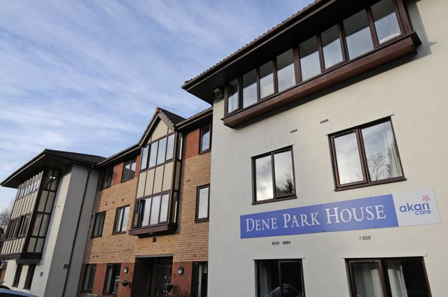 Dene Park House Nursing Home in Newcastle upon Tyne front exterior of building