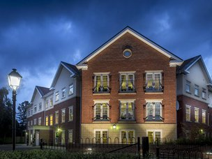 Front Exterior at Night of Avery Lodge Care Home