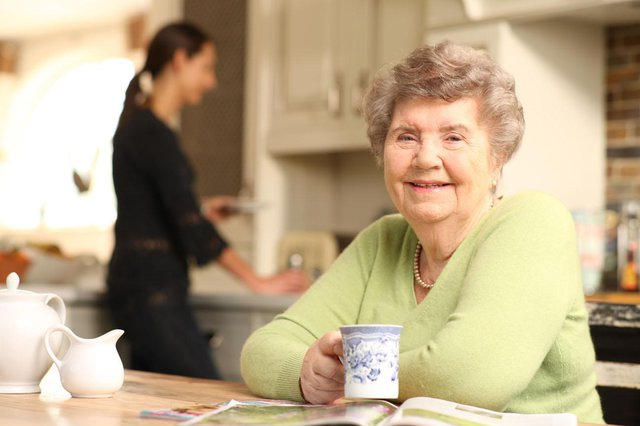 Helping Hands Home Care in Horley elderly lady enjoying cup of tea