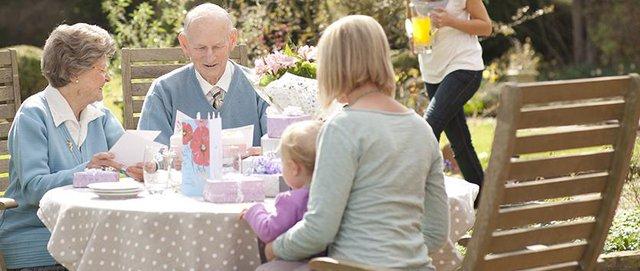 Helping Hands Home Care in Ferndown tea in the garden
