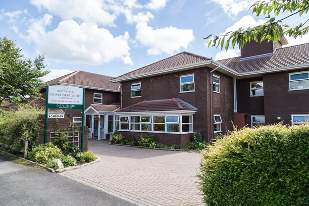 Dovedale Court Nursing Home in Preston exterior of home