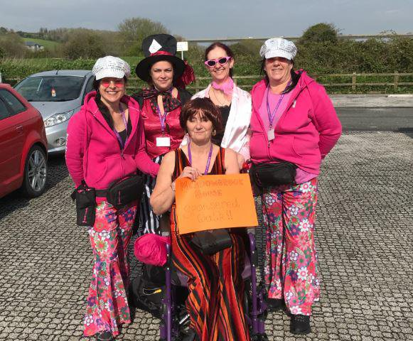 Meadowbrook House Nursing Home in Lostwithiel, Cornwall residents with carers fancy dress