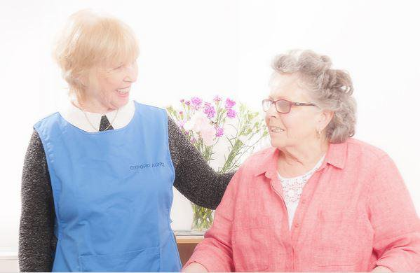 Oxford Aunts Home Care in Oxford elderly lady smiling with care giver