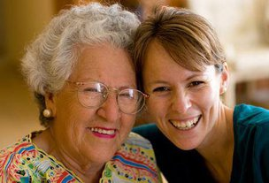 Radfield Home Care in Stafford elderly lady with younger lady smiling