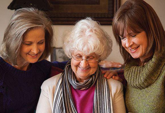 Right at Home Cardiff & Newport Homecare in Cardiff elderly lady with daughters