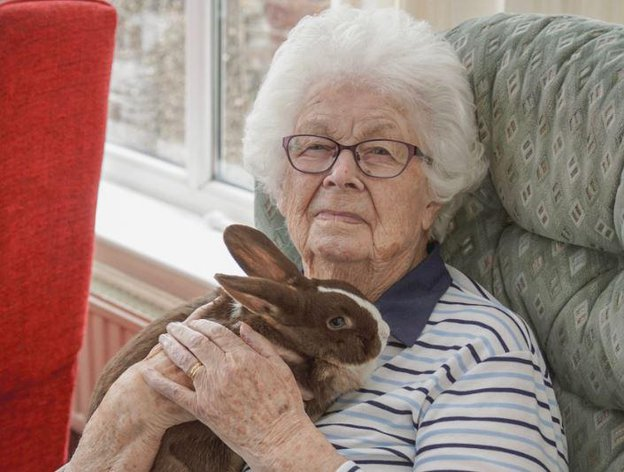Rivermead View Care Home in East Looe, Cornwall resident with rabbit