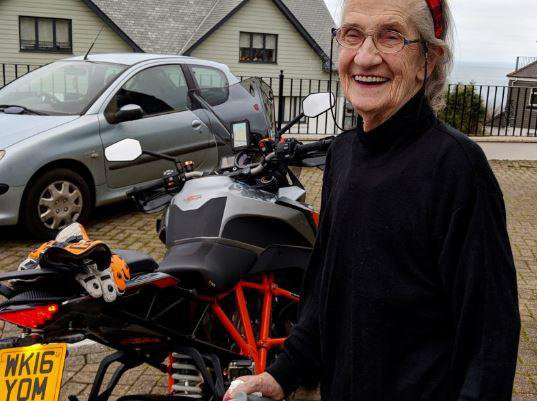 Trewidden Care Home in St Ives, Cornwall elderly resident outside with motorbike